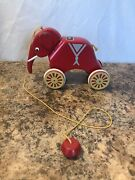Vintage Brio Wooden Pull Along Toy Red Elephant Made In Sweden Rare
