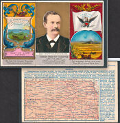 Kansas Map N133 Duke State Governor And Coat Of Arms 19th Century Tobacco Card