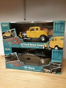 Ertl 1/18 Diecast American Graffiti 32 Ford And 55 Chevy Both W/door And Hood Straps