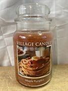 Village Candle 26 Ounce Retired Maple Pumpkin Candle. 2 Wick 170 Hrs.