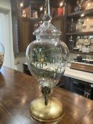 Rare 19th C Vatted Scotch Whiskey Glass Decanter Apothecary Brass Spigot