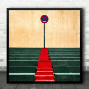 Sign Signs Stairs Staircase Colour Colours Colourful Prohibition Wall Art Print