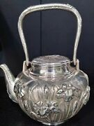 Japan Handmade Signed Sterling 999 Silver Coffee Tea Pot With Handle Vintage