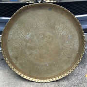 """Vintage Large 36""""solid Brass Etched Round Table Tray Wall Hanging Scalloped Edge"""
