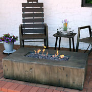 Sunnydaze Rustic Faux Wood Propane Gas Fire Pit Table W/ Cover And Lava Rocks-