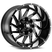 4-offroad Monster M12 24x14 6x5.5 -76mm Black/milled Wheels Rims 24 Inch