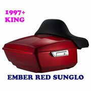 Ember Red Sunglo King Tour Pack Pak For 97-2021 Harley Street Road Electra Ultra