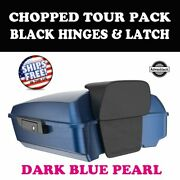 Dark Blue Pearl Chopped Tour Pack Black Hinges Latch For 97-21 Harley Electra
