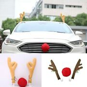Car Vehicle Reindeer Antlers And Red Nose Christmas Decorations Kit Ornament Gifts