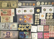 Estate Sale Old Coins Lot Silver Usa Currencybaseball Cards And More