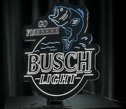 Rare Busch Light Sign Beer Go Fish Led Bass Fishing Hunting Neon Can Cooler Bud