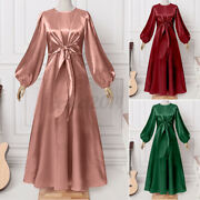 Us Womens Satin Bow Long Sleeve Dresses Ladies Party Cocktail Dress Office Ol