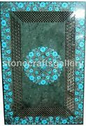 Green Marble Dining Table Top Grill Turquoise Floral Inlay Arts Home Decors B194