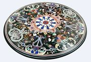 Black Round Marble Dining Table Top Pietra Dura Parrot Inlay Outdoor Decors B123