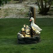 Duck Family Bathing Outdoor Fountain Mama And Ducklings Water Feature W/led