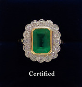 Fine Emerald And Diamond Large Cluster Ring 750 18ct Yellow Gold - Size O Us 7