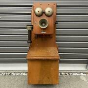 Wooden Phone Old Phone Showa Retro Phone Wall-mounted Phone Height 70 Cm