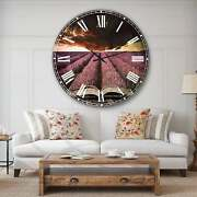 Designart And039book Open To Lavender Fieldand039 Floral Wall Clock