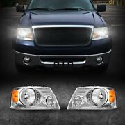 For Ford F-150 2004-2008 Chrome Housing Clear Lens Headlights Assembly Pair