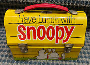 """1968 """"have Lunch With Snoopy"""" Metal Dome Lunchbox W/thermos, No Rust"""
