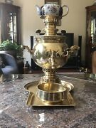 Antique Russian Brass Samovar With Tray And Bowl And Teapot
