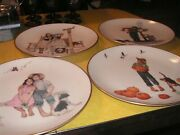 Norman Rockwell Gorham Fine China Set 4 The Four Seasons Series Plates 1977