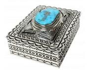 Gary Reeves Sterling Silver Box Morenci Turquoise Stamping Navajo Made 2in