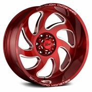 Off-road Monster M07 Wheels 24x12 -44 8x165.1 125.2 Red Rims Set Of 4