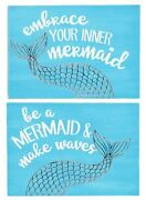 Embrace Your Inner Mermaid And Be A Mermaid Make Waves Wood Box Signs Set Of 2