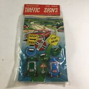 """Vintage Tin Litho Japan """"rules Of The Road Traffic Signs"""" New Old Stock Nip A"""