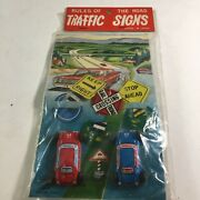 """Vintage Tin Litho Japan """"rules Of The Road Traffic Signs"""" New Old Stock Nip B"""