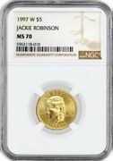 1997 W 5 Jackie Robinson Commemorative Gold Ngc Ms70 Gem Uncirculated Coin