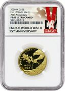 2020 W 25 End Of Wwii 75th Anniversary Proof 24k Gold Medal Ngc Pf69 Uc