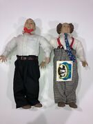 """1988 Hamilton Gifts 3 Three Stooges Collectible 15"""" Dolls Larry Curly"""