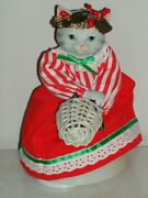 Rare Vintage Kitty Cucumber Rotating Musical Mrs Claus Silver Bells 1988 Schmid