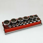 Vintage Snap-on Socket Set, 15 Pc, 1/2 Drive, 1960's With Red Metal Case