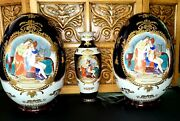 Rare Vintage Museum Quality Limoges 2-16.5 Eggs On Wood Base And 1-vase Signed