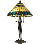 New Lamp Dale Glass Shade Tt18190 Jeweled Leaves Antique Bronze Verde