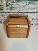 Vtg Oak Recipe Box Roll Top Hardwood 3x5 Index Cards Hand Crafted