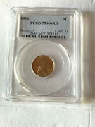 1936 Lincoln Wheat Penny Cent Pcgs Ms66rd