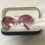 Louis Vuitton Rimless Sunglasses Gradient Purple Lens Gold Frame Womenand039s Used