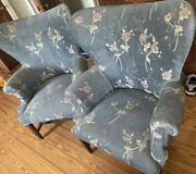 Set Of 2 Vintage Antique Wingback Chairs Blue Upholstery Floral Pattern