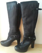 Ugg Black Leather Knee High Boot Womens Size 7 Zipper Uggs Free Shipping