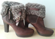 Ugg Brown Leather Heeled Fuzzy Cuff Shoe Womens Size 7 Zipper Uggs Free Shipping