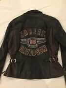Harley Davidson Leather Womanandrsquos 95th Anniversary Addition Jacket Size L Euc