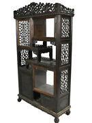 Fine Antique Chinese Carved Rosewood Display Cabinet Beveled Glass Doors 72andrdquo