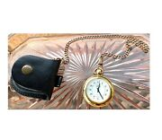Pocket Watch And Fob Chain Gold Vintage + Leather Case Swank Quartz Timepiece