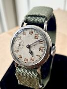 1917 Wwi Elgin Military Trench Watch 8-17 Dated Dial - Fahys Oresilver Case