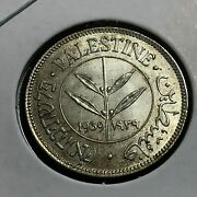 1939 Palestine Silver 50 Mils Nice Uncirculated Coin