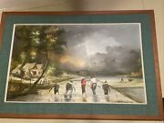 Original Canvas Suanna Goon Oil Painting 28andrdquo X 21andrdquo By Soldier In Vietnam Framed